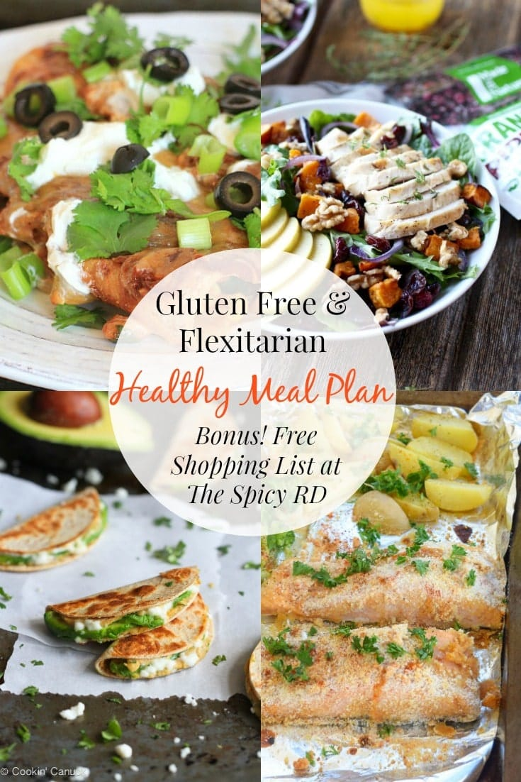 Flexitarian & Gluten Free Meal Plan No. 2 | Eat healthy & simplify dinner time w/ a FREE meal plan & grocery list at EA Stewart, @thespicyrd #glutenfree #vegetarian #mealplanning #mealplan #healthyeating