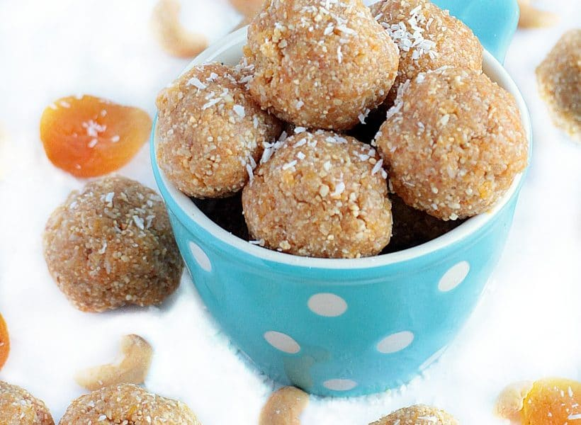 Healthy Energy Bites with Dates, Apricots, Cashews, & Coconut