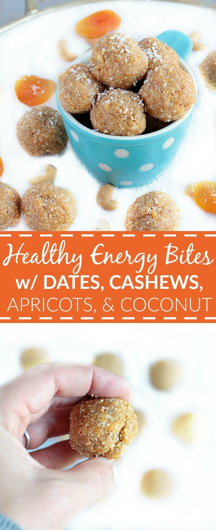 Whip up a batch of these delicious, No Bake Healthy Energy Bites w/ Dates, Cashews, Apricots, & Coconut in 10 minutes flat! #GlutenFree #Paleo #Vegan