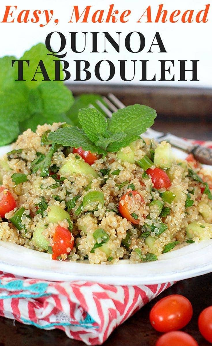 You can whip up a batch of this Quick & Easy Quinoa Tabbouleh in 20 minutes! Make it ahead of time, then eat it for dinner one night, and enjoy leftovers for lunch the next day. It's healthy AND delicious! #glutenfree #vegan #lowfodmap #healthyrecipes #mealprep #dinner #lunch