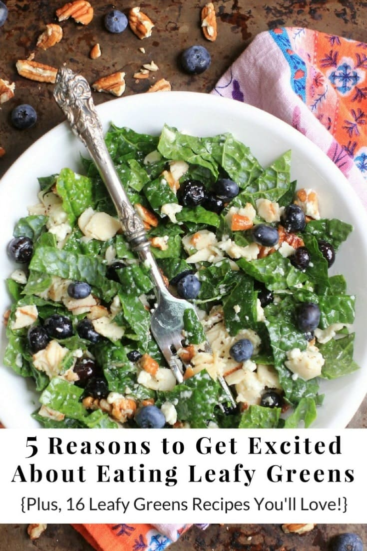 5 Reasons to Get Excited About Eating Leafy Green + 16 Leafy Greens Recipes You'll Love! There's something for everyone, including #glutenfree #vegetarian #vegan #lowfodmap & #paleo recipes. Enjoy!