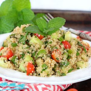 Fresh & Easy Quinoa Tabboulheh {Gluten Free, Low FODMAP}+ More Happy Things & Healthy Living Tips
