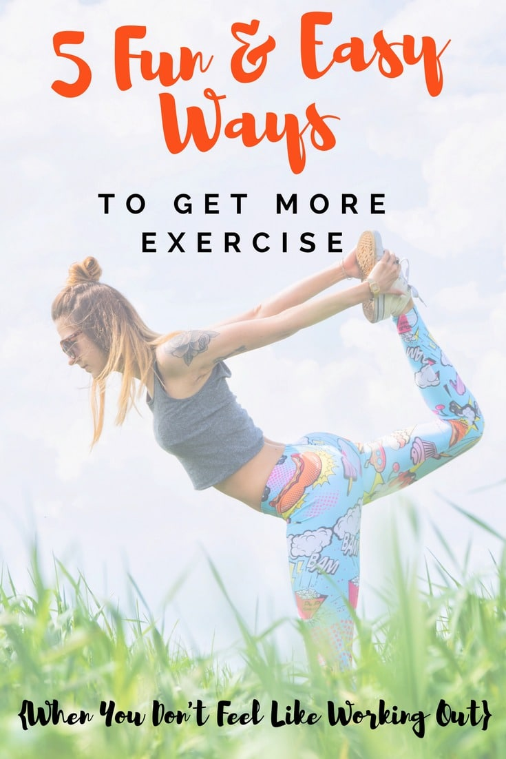 Need some extra exercise motivation? These 5 Fun & Easy Tips & Ideas to Get More Exercise will boost your mood and your health, plus, they'll make working out fun again! #fitness #exercise #motivation #workout #women #healthy
