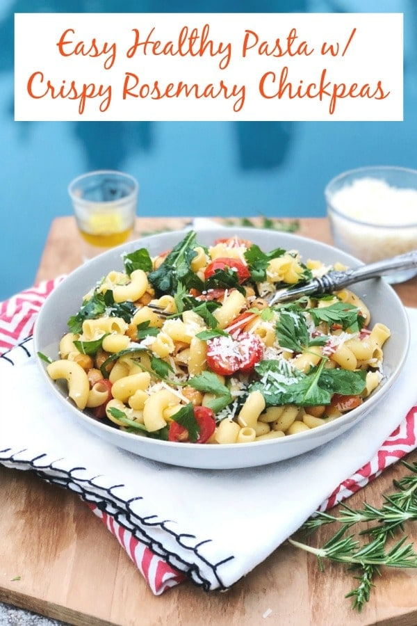 This Easy Healthy Pasta Recipe w/ Crispy Rosemary Chickpeas, Roasted Tomatoes, & Parmesan Cheese {gluten free, low FODMAP, vegetarian} is absolutely delicious! It's the perfect vegetarian family friendly meal! #glutenfree #vegetarianrecipes #mediterraneandiet #pasta #familydinner #meatlessmonday #lowfodmap