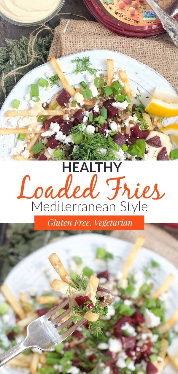 #AD These healthy loaded French fries are absolutely divine & super easy to make. Oven baked fries are topped with creamy Sabra hummus & yogurt dressing, lentils, beets, tangy feta cheese, and fresh herbs~they're perfect for a delicious Mediterranean inspired vegetarian dinner! #glutenfree #vegetarian #healthyrecipes #mediterraneandiet #glutenfreerecipes #vegetariandiet #fries #skinnyfries #lentils #beets
