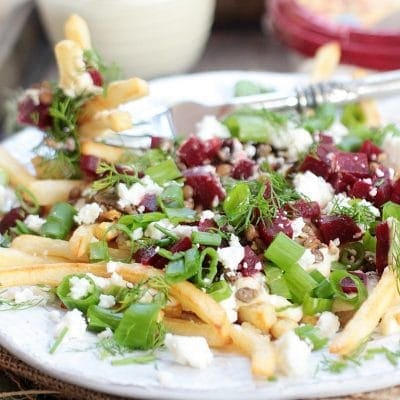 Healthy Loaded Fries w/ Lemony Hummus Sauce, Mediterranean Style