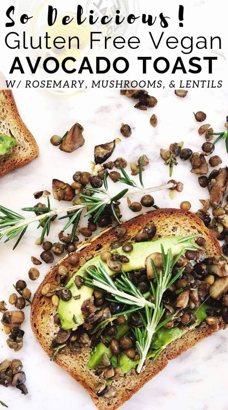 Vegan Avocado Toast with lentils, mushrooms, and rosemary. Flat lay photo on white background.