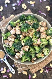 Healthy Broccoli Salad with Raisins, Miso Dressing, & a Secret Ingredient!