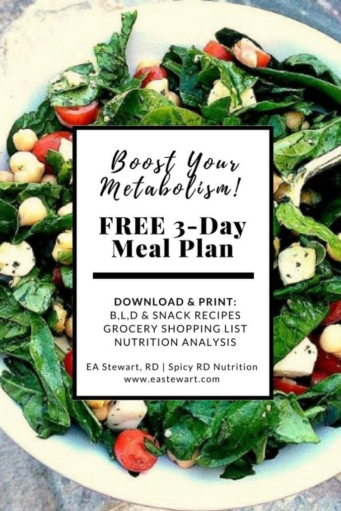 Spinach salad with free metabolism boosting meal plan text