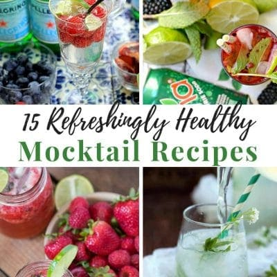 Collage with 4 different healthy mocktail recipes in glasses