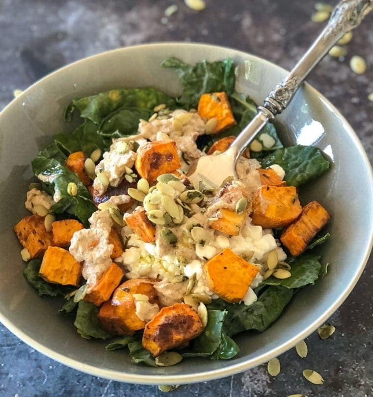 Roasted Sweet Potatoes Power Bowl with kale and pumpkin seeds