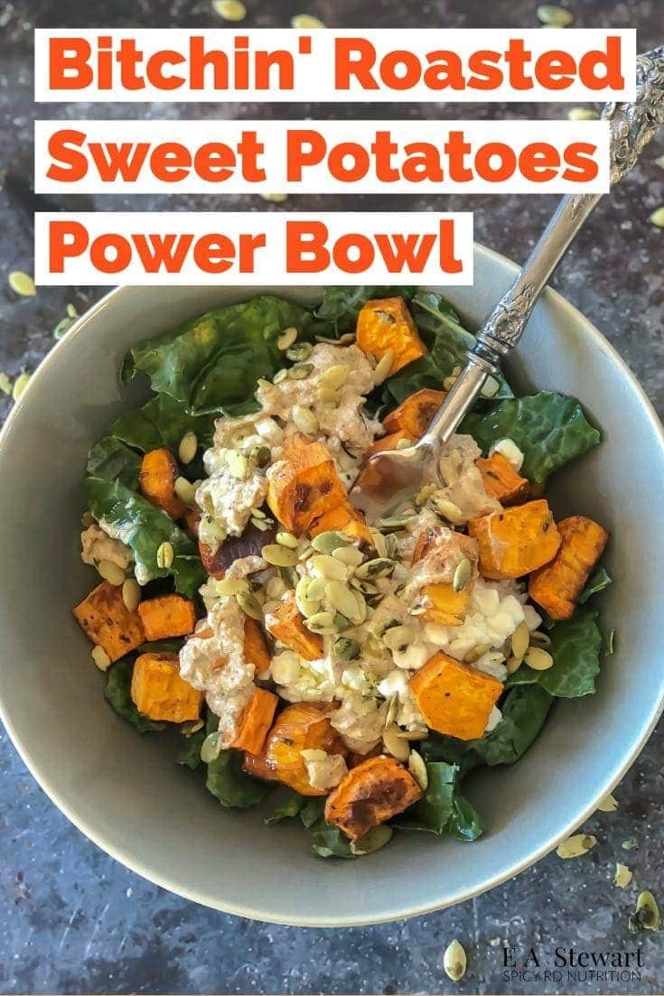 This Roasted Sweet Potatoes Power Bowl with Kale, Cottage Cheese, Pumpkin Seeds, & Spicy Bitchin' Sauce will make your taste buds jump for joy! It's packed with protein, healthy fats, and fiber rich carbs to keep your metabolism humming all afternoon long. You can batch cook the sweet potatoes ahead of time, and meal prep the power bowls for a super quick and easy lunch or dinner! #lunch #powerbowl #glutenfree #mealprep #sweetpotatoes #dinner #powerbowls