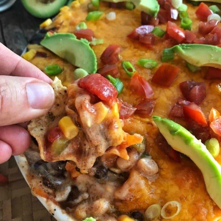 Bean Dip Recipe on a tortilla chip