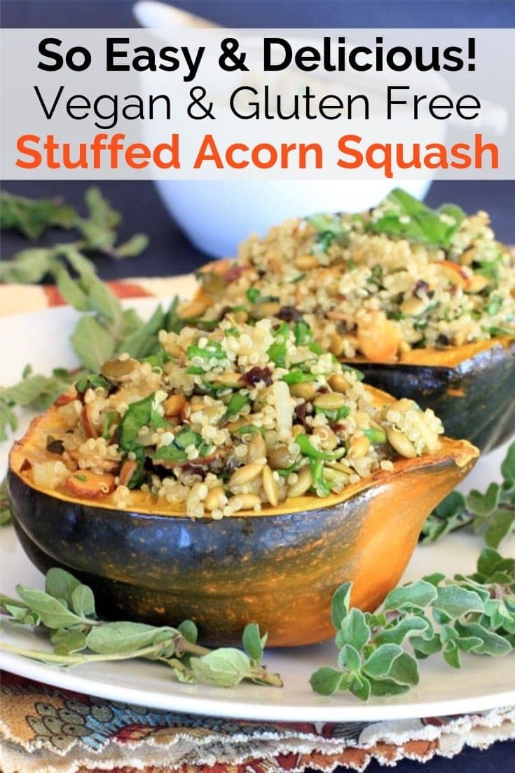 This Vegan Stuffed Acorn Squash {gluten free} is a healthy fall favorite! It's filled with a delicious pumpkin seed and tart cherry quinoa pilaf. Serve it as a side dish, an entree for Meatless Monday, or at your next holiday gathering~So delicious! #glutenfree #stuffedsquash #acornsquash #thanksgiving #meatless #dinner #vegan #fall