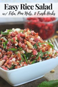 gluten free rice salad in a white bowl pinterest image