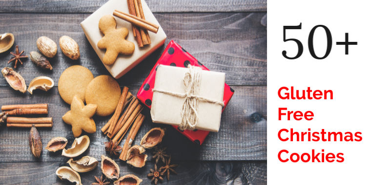 Gluten Free Christmas Cookies and spices on a wooden board