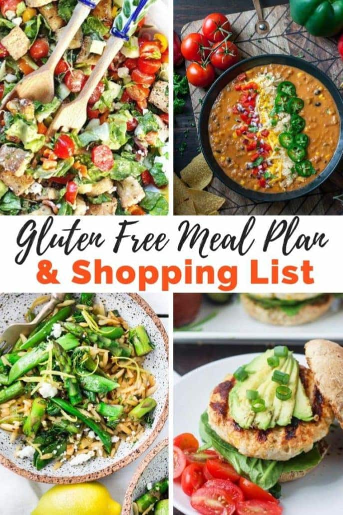 Gluten Free Meal Plan and Shopping List No. 1