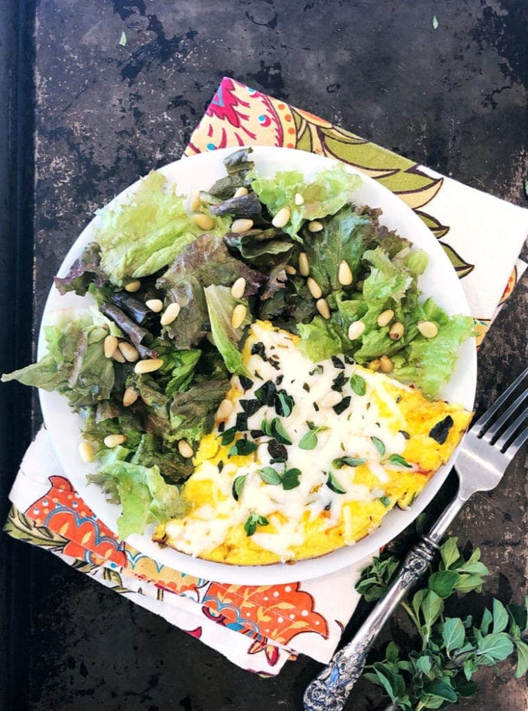 Vegetable Frittata Recipe with Side Salad