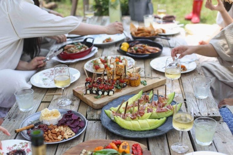 Dinner party with mood boosting foods