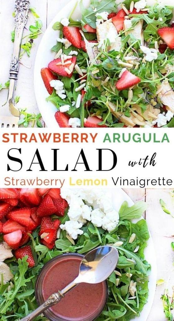 Strawberry Arugula Salad on a white plate with strawberry lemon vinaigrette in a bowl