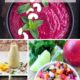 Photo collage with healthy beet dip, salsa, and salad dressings.