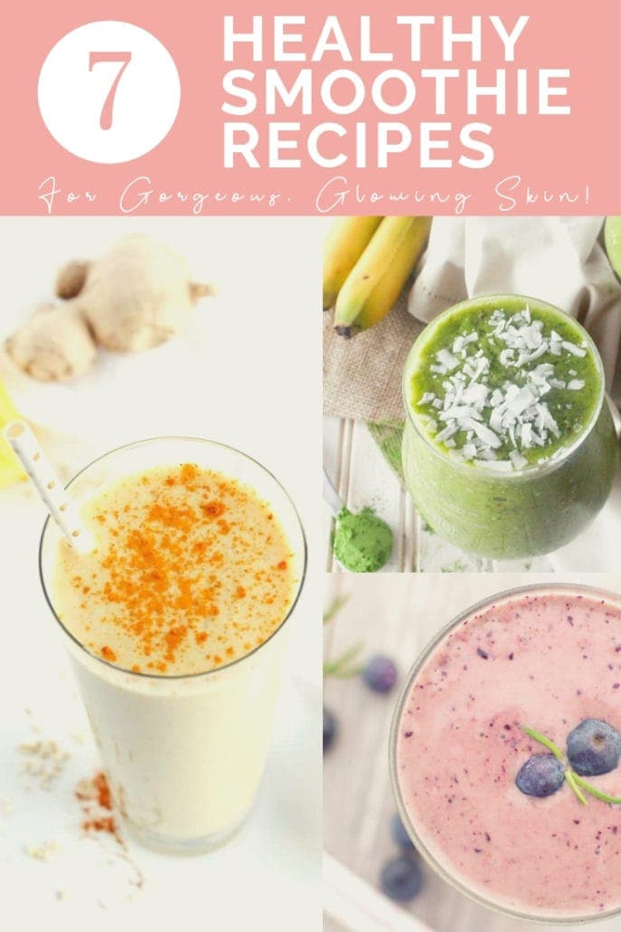 3 pictures of healthy smoothie recipes in a photo collage