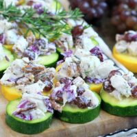 platter with low carb pecan chicken salad on zucchini chips