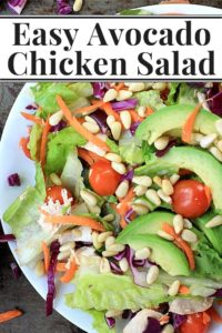 rotisserie chicken salad with avocado, tomato, and pine nuts on a white plate