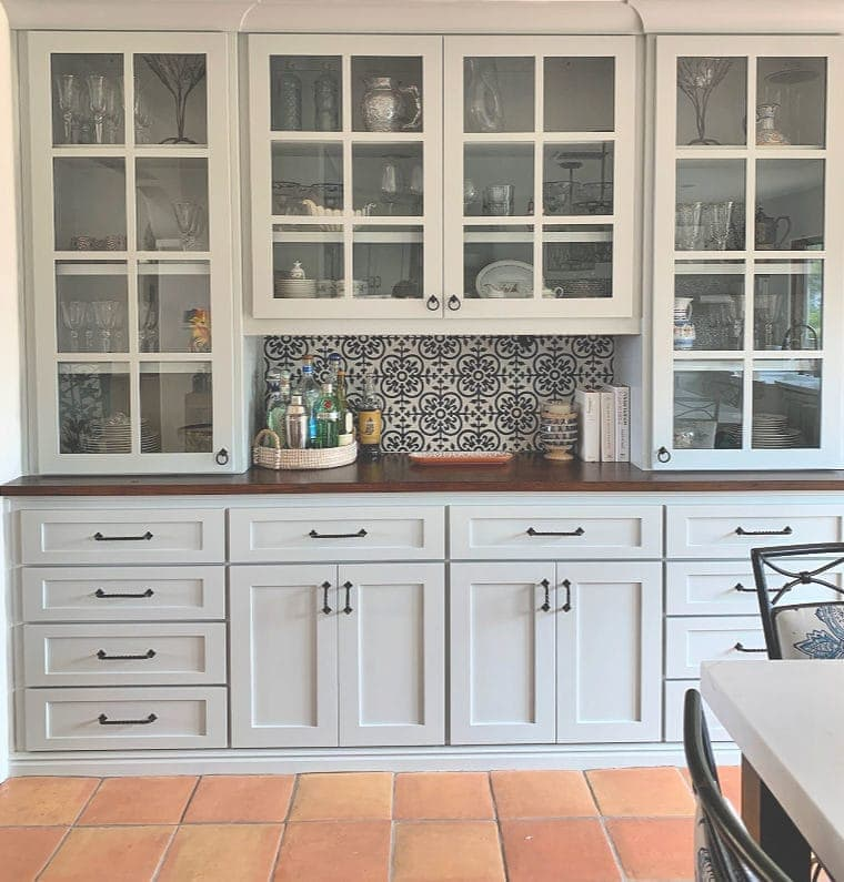 modern farmhouse kitchen built-in buffet
