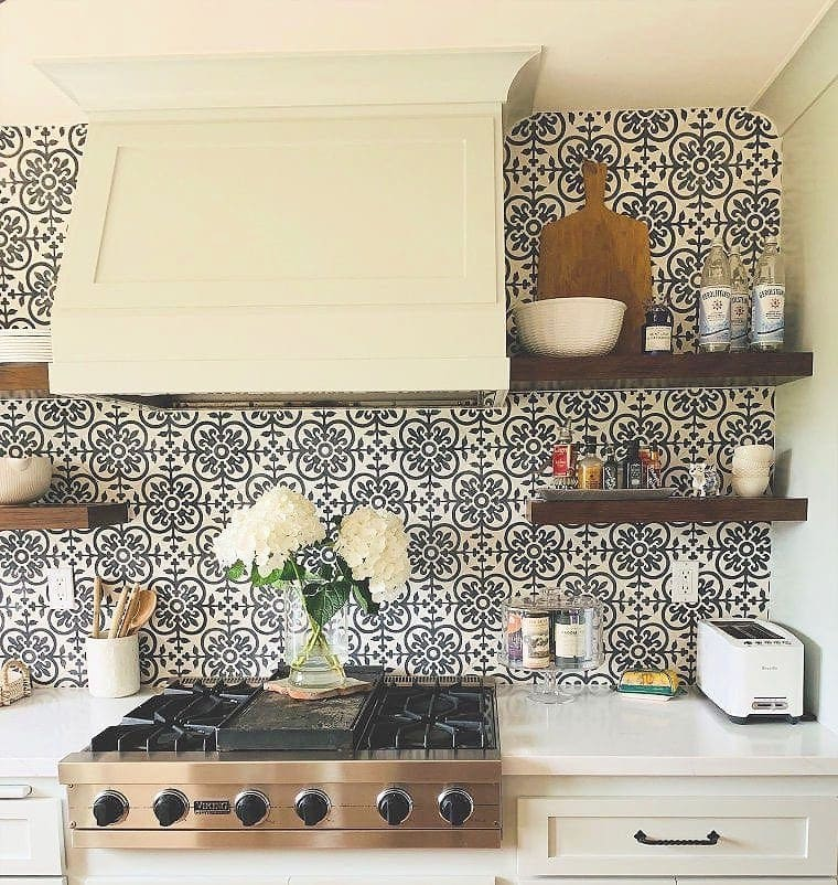 modern farmhouse kitchen tiled wall and open shelves