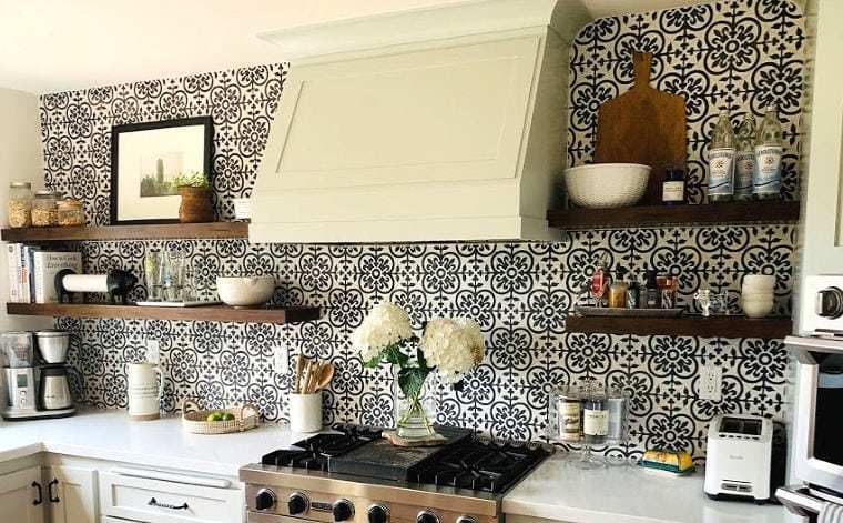 tiled kitchen backsplash and wood shelves