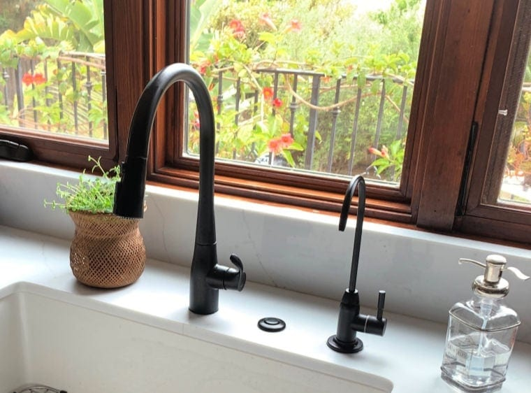 matte black kitchen faucet and water filter