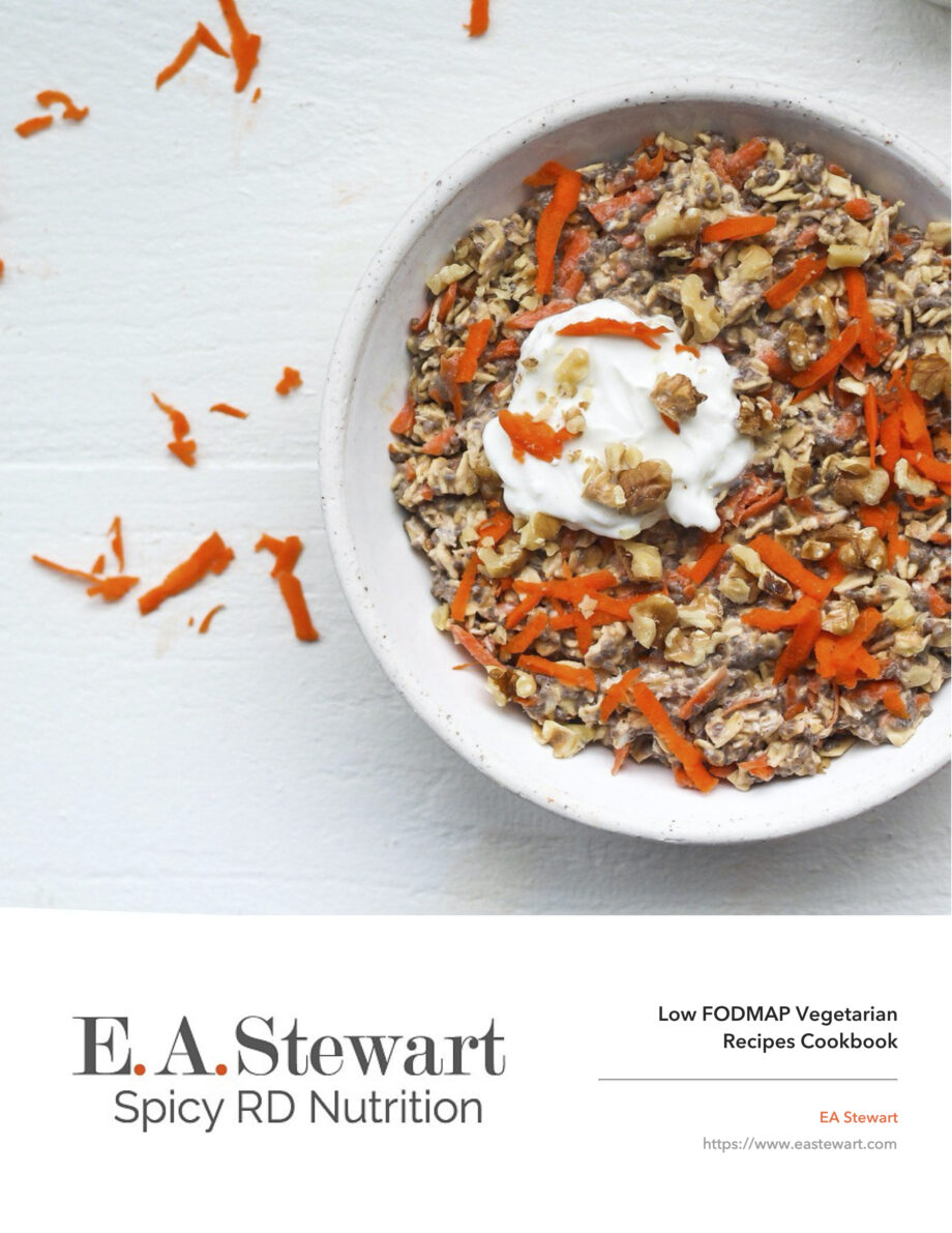 Low FODMAP Vegetarian Cookbook Cover with a bowl of carrot cake oats.