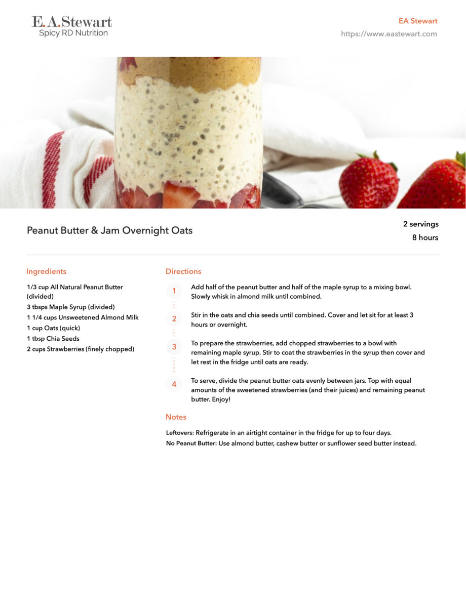 Recipe pages with a fruit and peanut butter parfait image.