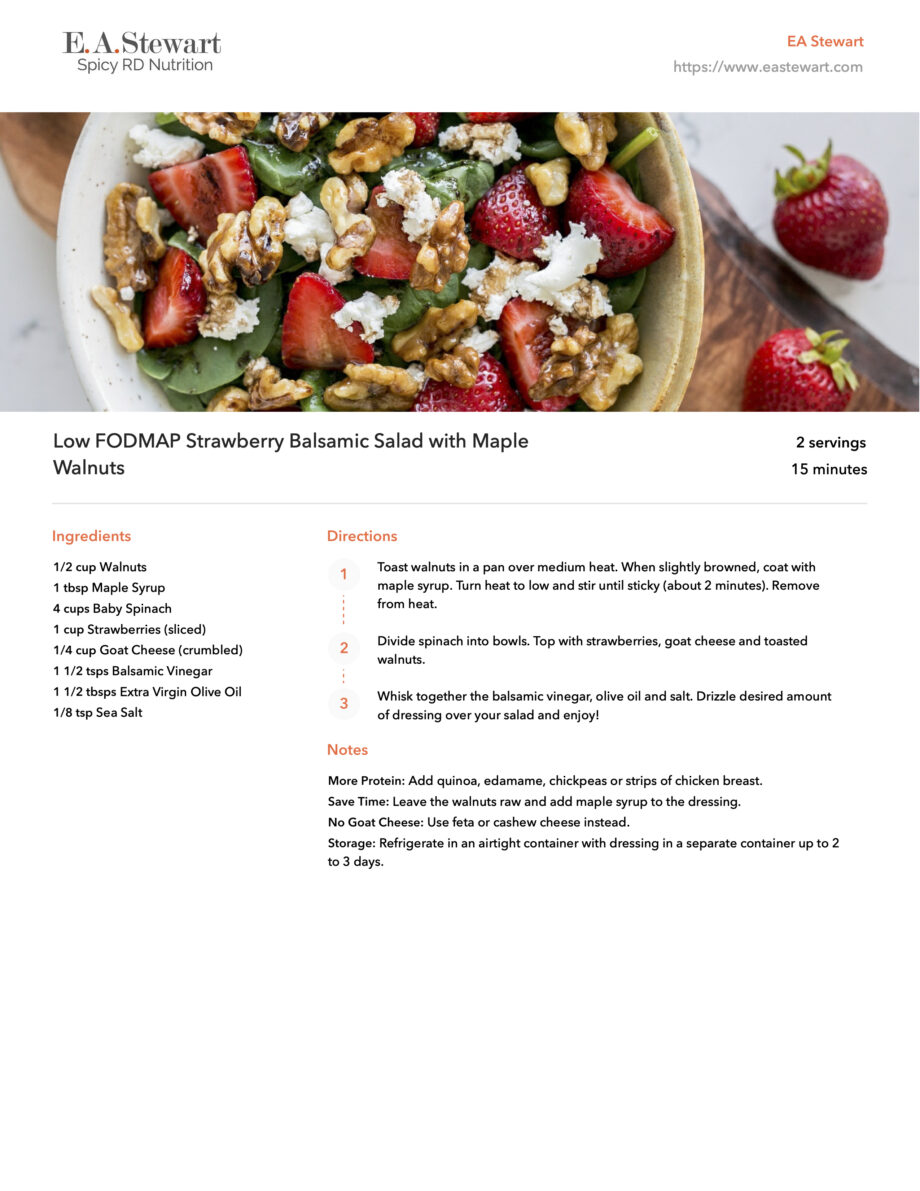 Recipe page featuring a photo of a salad with greens, strawberries, and walnuts.