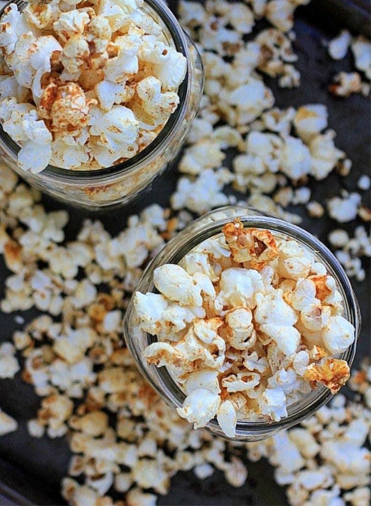 gluten free snacks for kids - popcorn in a mason jar
