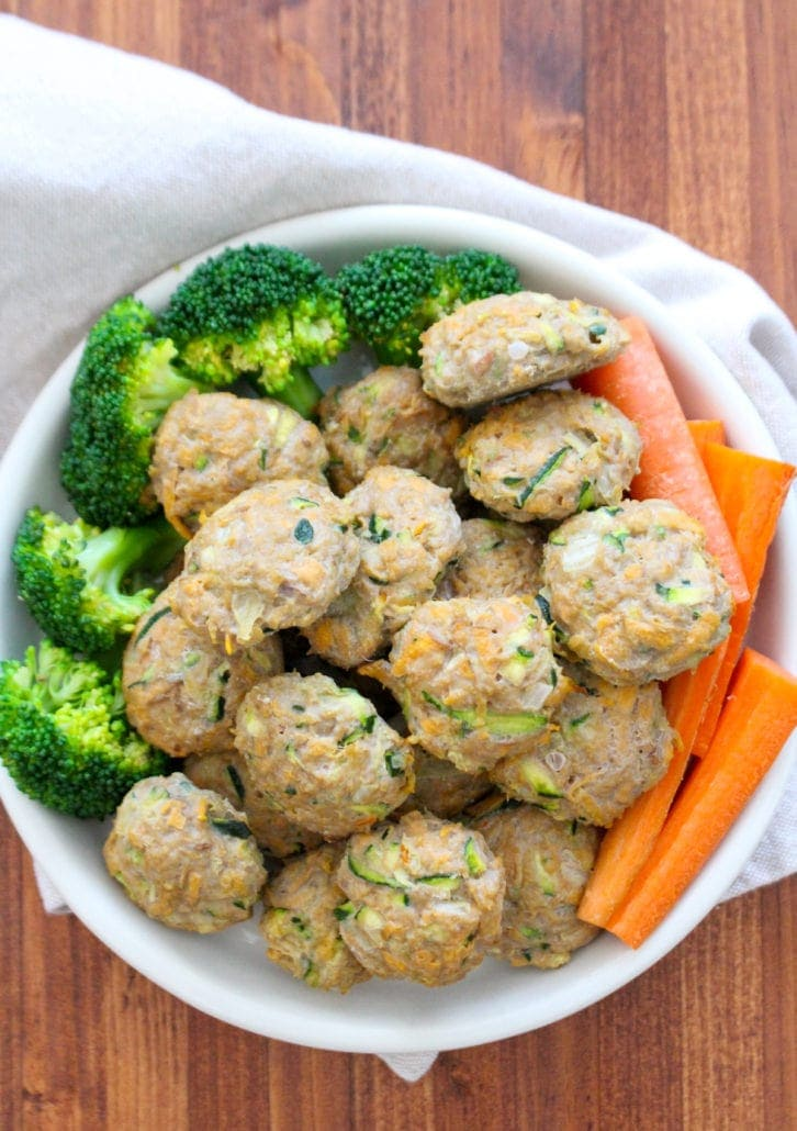 gluten free snacks for kids - turkey meatballs, broccoli, and carrots in a white bowl
