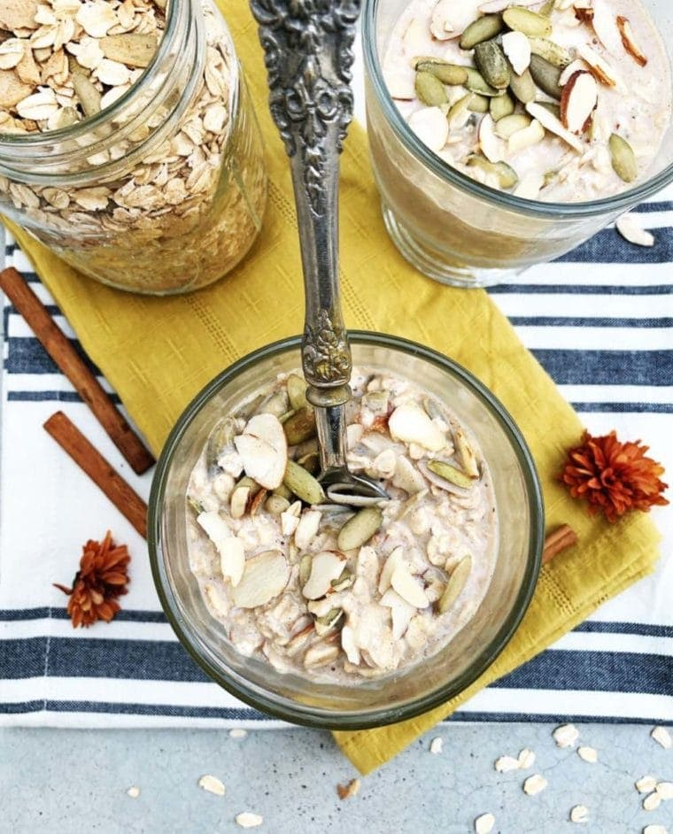 gluten free muesli with milk in a glass serving dish