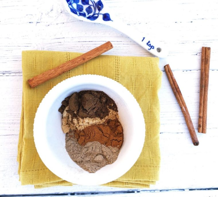 chai spices in a white bowl