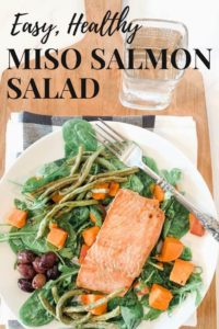 Easy Sheet Pan Miso Salmon Salad on a white plate