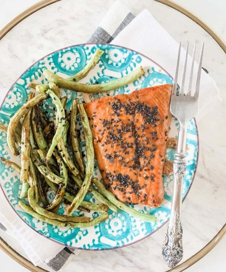 miso maple broiled salmon with green beans