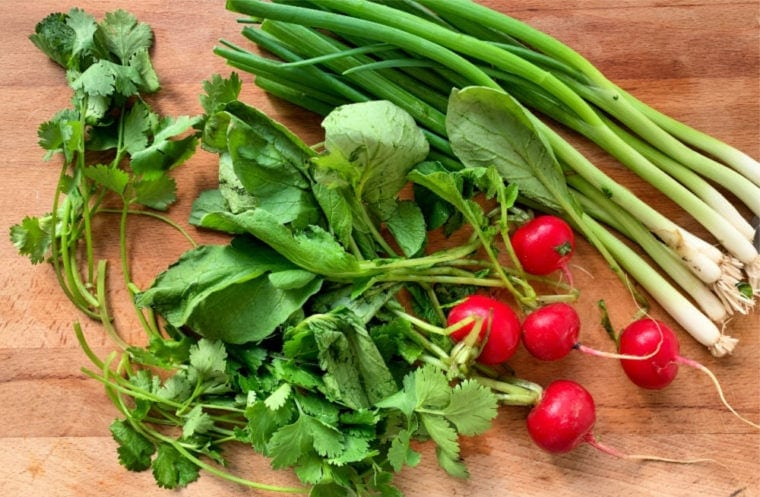 cilantro, radish, and onion on a wooden cutting board
