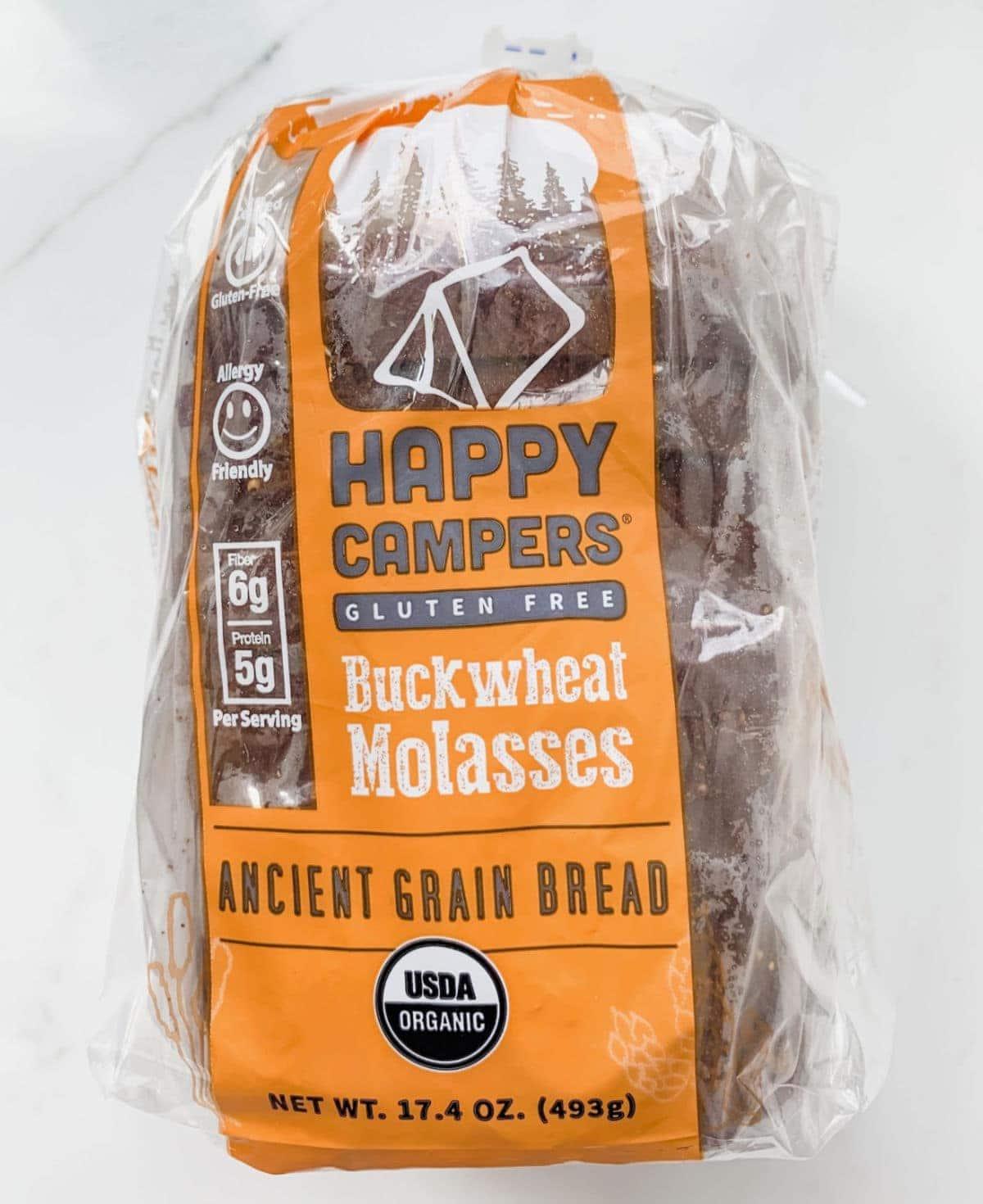 Happy Campers gluten free buckwheat molasses bread.