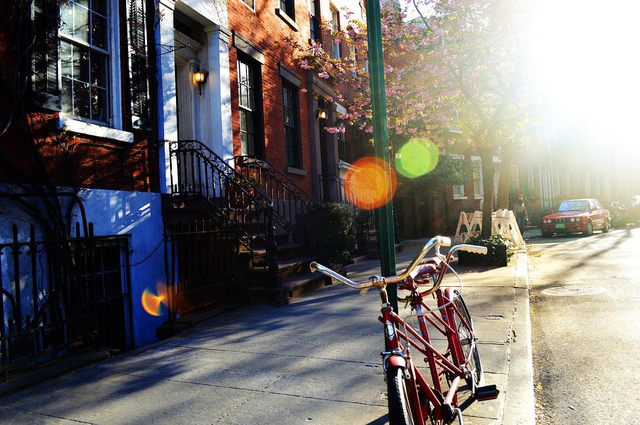 bike, street, neighborhood
