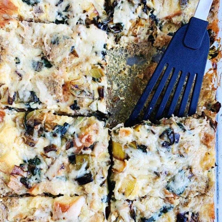 Gluten Free Breakfast Casserole with Veggies, Fresh Herbs, & Gruyere