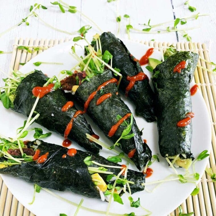 Sushi without rice - Beefshi Hikers Hand rolls on a white plate.