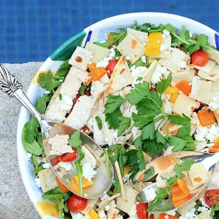 cooking with fresh herbs - fattoush salad in a colorful serving bowl