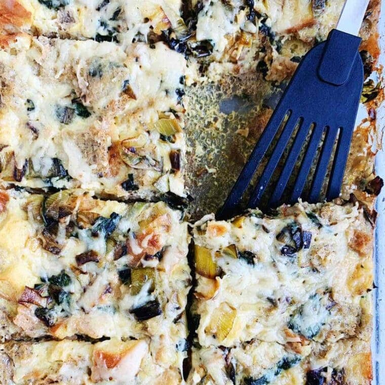 cooking with fresh herbs - gluten free breakfast casserole in a glass baking dish