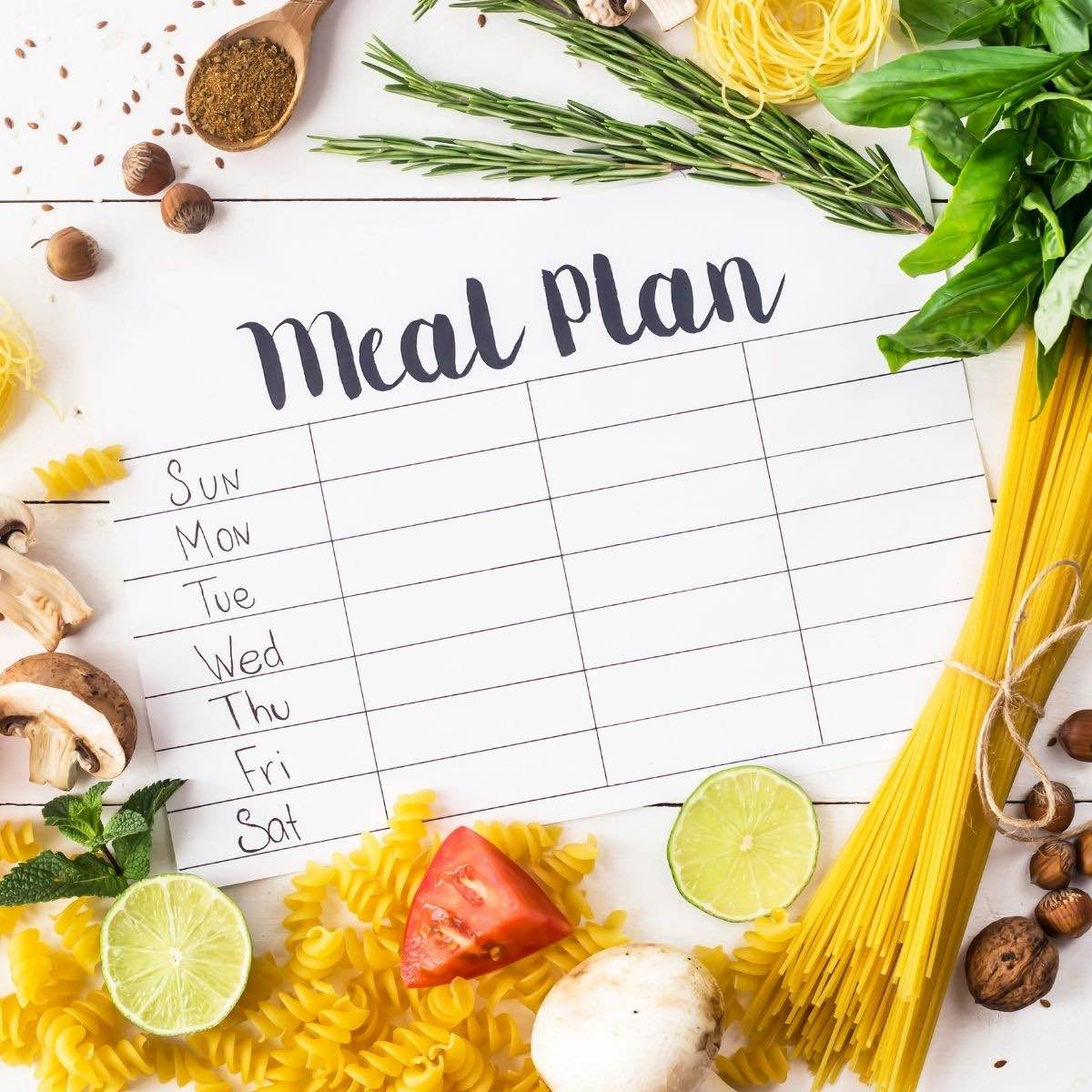 How to meal plan image with blank meal planner surrounded by food.