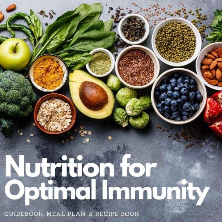 Nutrition for Optimal Immunity - various fruits, vegetables, nuts, seeds and whole grains on a chalkboard background.